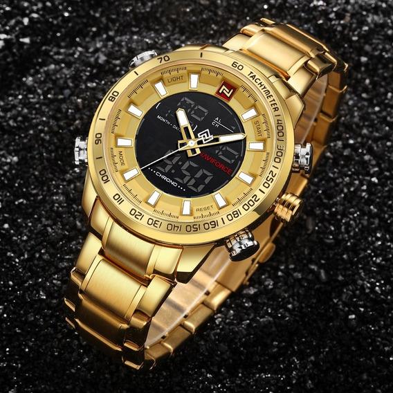 Relógio Naviforce 9093 Pulseira De Aço Inoxidavel Original