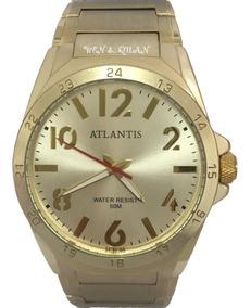 Relógio Masculino Atlantis Dourado Luxo Pronta Entrega