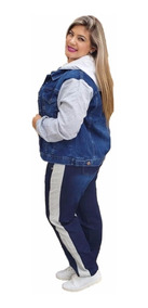 Conjunto Feminino Jeans Com Moletom Plus Size