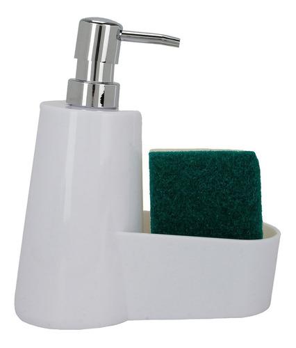 Dspensador Plástico Jabón Y Esponja/ Blanco