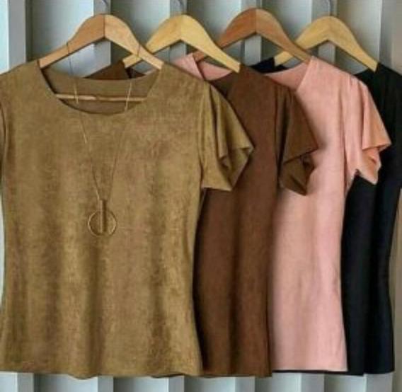Blusas Blusinha T-shirt De Suede Feminina