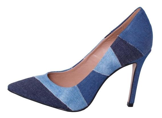Scarpin Jeans Salto Medio Inverno Scarpin Bico Fino Promoção Sapato Social Para Trabalho Executiva Salto Médio Scarpin