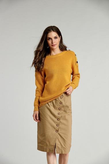 Suéter De Moda De Color Amarillo Suelto