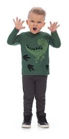 Camiseta Manga Longa Verde Estampa Dinossauro Up Baby