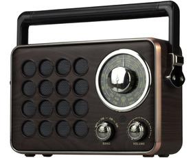 Radio Am Fm Bluetooth Caixa Retro Vintage Pendrive Bateria