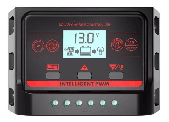 Controlador De Carga Solar 30a Usb Regulador Luz De Fundo