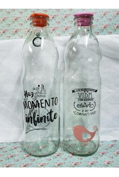 Botellas De Vidrio Decoradas Con Calco Vitrificable