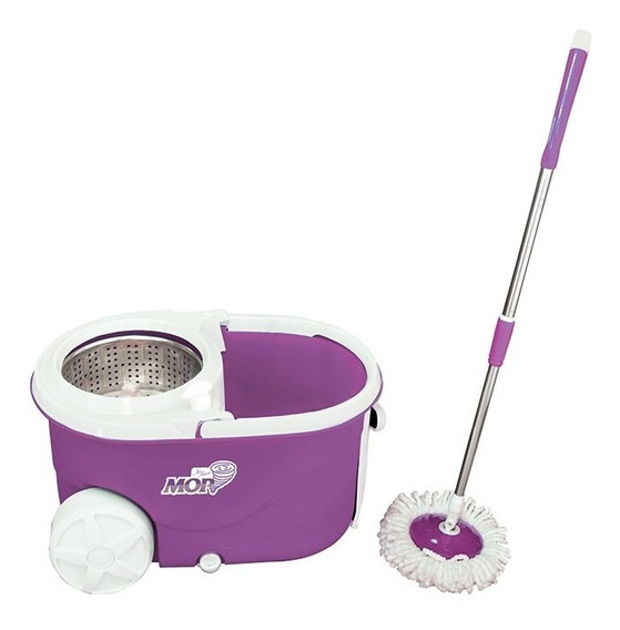 Kit Spin Mop Inox + Rodinhas E Puxador Profissional Completo