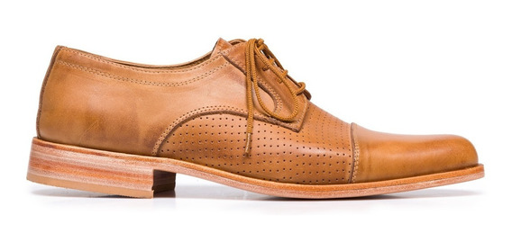 Tremendo Zapato Hombre Vestir Sport Cuero Marron
