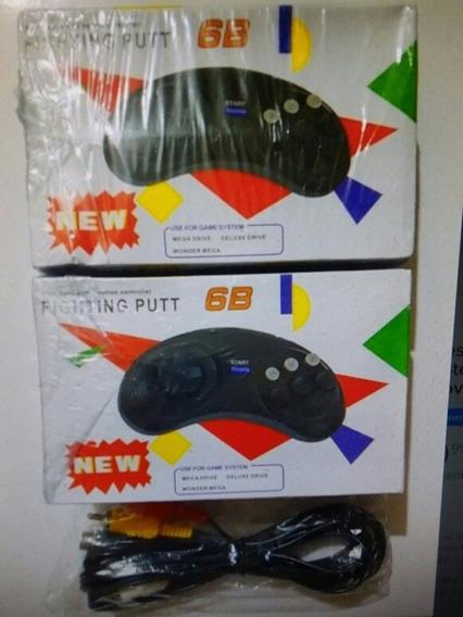 Lote 2 Controles Mega Drive + Cabo Av Mega Drive 3 Novos