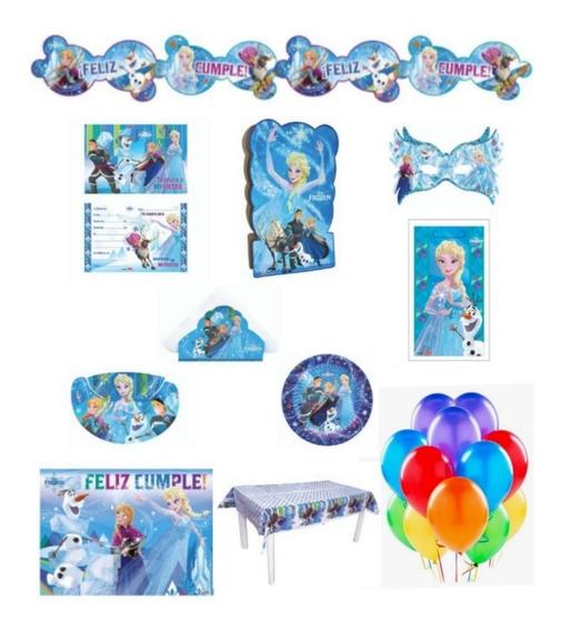 Cotillón Frozen Para 20 Chicos Pack Piñata Banderín Globos