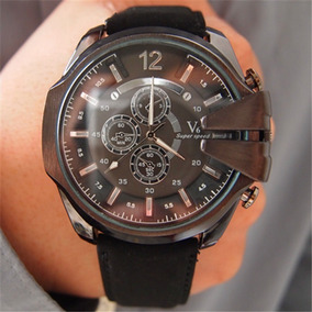 Relógio Masculino Luxo Pulseira Couro Barato Promoção