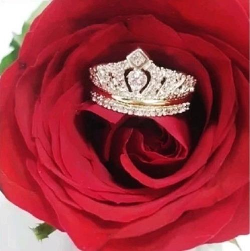 Imagen 1 de 2 de Anillo Reina Isabel Corona En Plata Y Oro