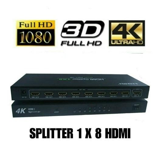 Splitter Hdmi 1x8 1 Entrada 8 Salidas 1080 4k/3d C/fuente