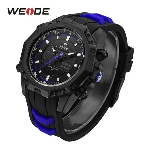 Relógio Masculino Borracha Azul Aço Inoxidável Promoção Top
