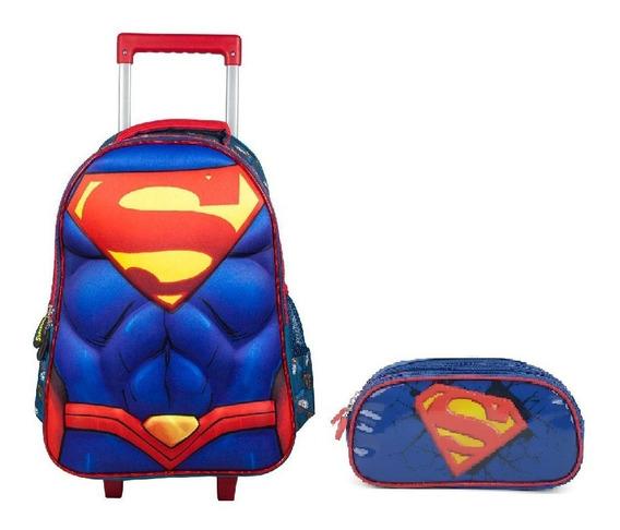 Kit Mochilete + Estojo Super Man 32905 - Original