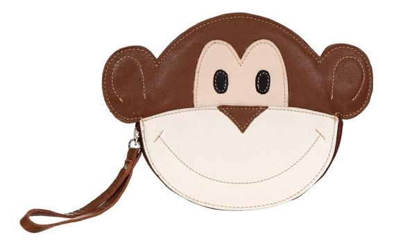 Clutch Bolsa De Mão Artesanal Couro Pet Macaco Preto Marrom