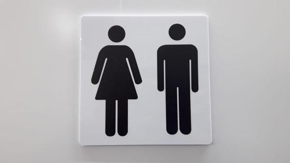 Conjunto Placas De Banheiro Unissex Masculino Feminino