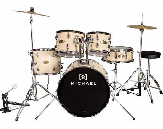 Bateria Michael Audition Dm828n Na + Pratos + Banco Completa