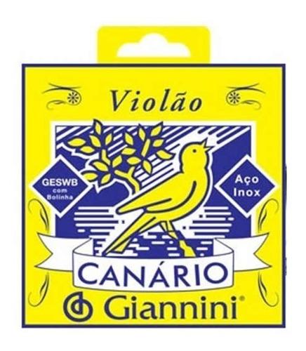 Imagem 1 de 3 de Encordoamento Giannini Canario Violão Aço Com Bolinha