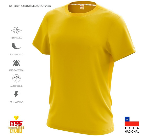 Polera Deportiva Dry Fit Antitranspirante Amarillo Oro