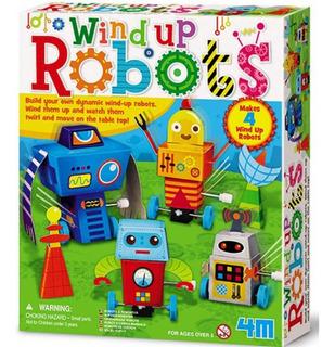Crea 4 Robots De Cuerda A Todo Color 4m Manualidades