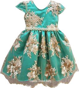 Vestido Infantil Realeza Princesa Daminha Varias Cores Tiara