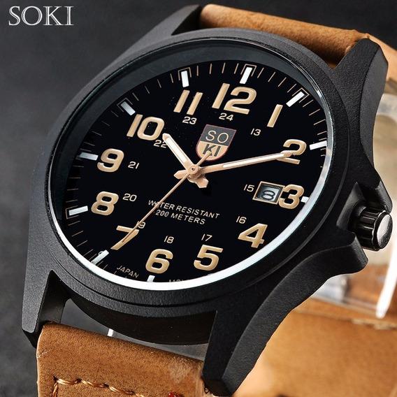 Reloj Casual Acero Cuarzo Marca Soki Color Negro Con Miel
