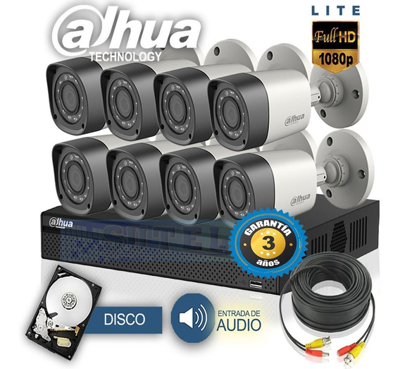 Kit De Seguridad Dahua Hdcvi Dvr 8 Camaras Hd+disco+cables