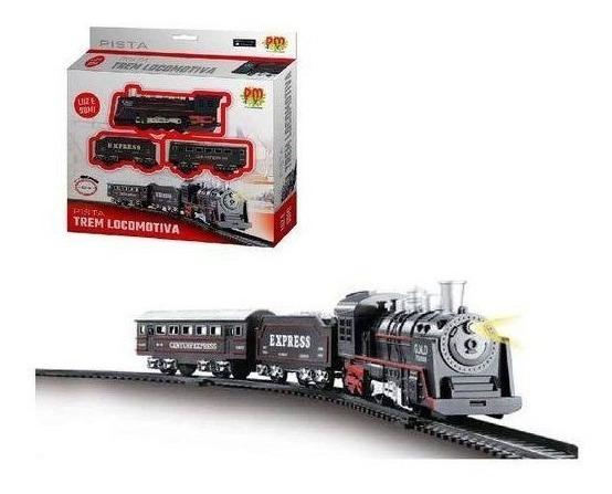 Ferrorama Trem Infantil A Pilha Com Som Luz Dm Toys Dmt5373