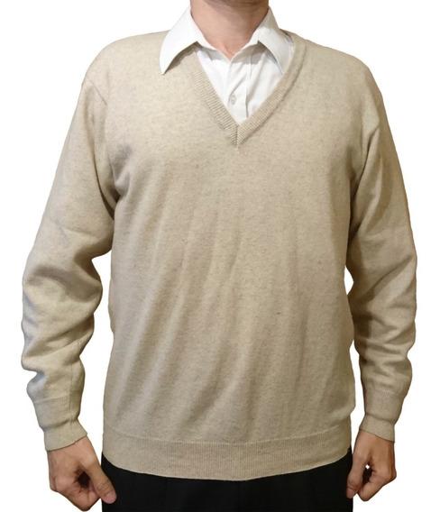 Pullover Sweater Bremer Beige Escote V Talle L Usado Envíos!