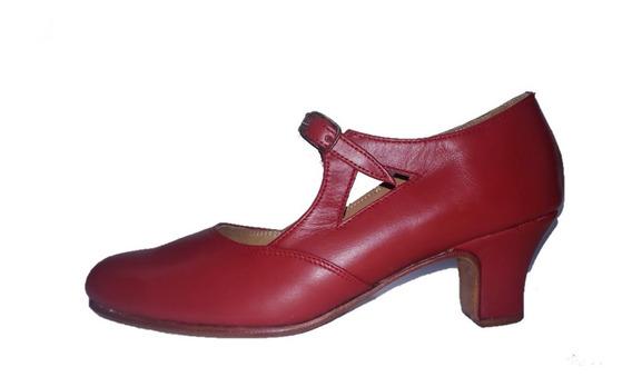 Zapatos De Danza Español Y Folklore En Cuero Rojo