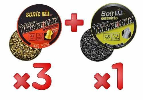 Kit 3 Chumbinho Sonic 5.5mm 250un + Bolt 5.5mm 250un