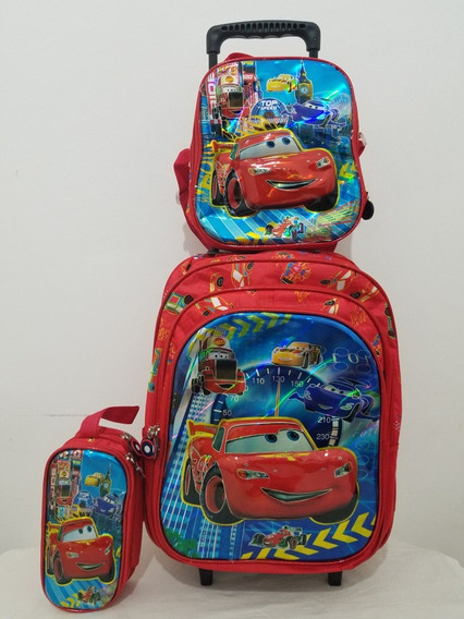Kit Mochila Infantil Carros Mcqueen Lancheira+estojo 3d