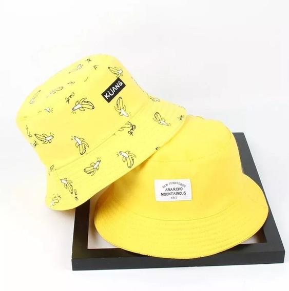 Boné Chapéu Bucket Hat Rosa Amarelo Dupla Face Batata Frita