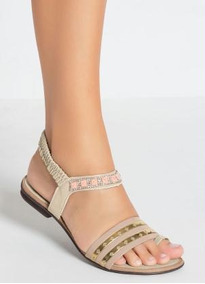 Sandália Rasteirinha Preta Com Elástico Litrada Dourada Moda