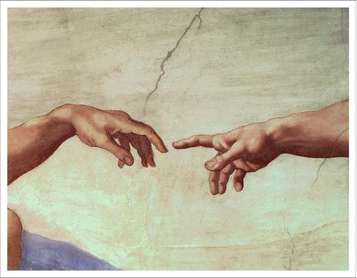 Imagen 1 de 3 de Lienzo, Tela, Miguel Angel, Manos De Dios Y Adan, 70x91cm
