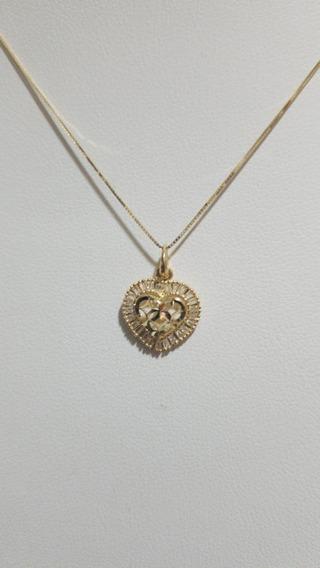 Corrente Gargantilha Em Ouro 18k750 Com Coração C Zirconias