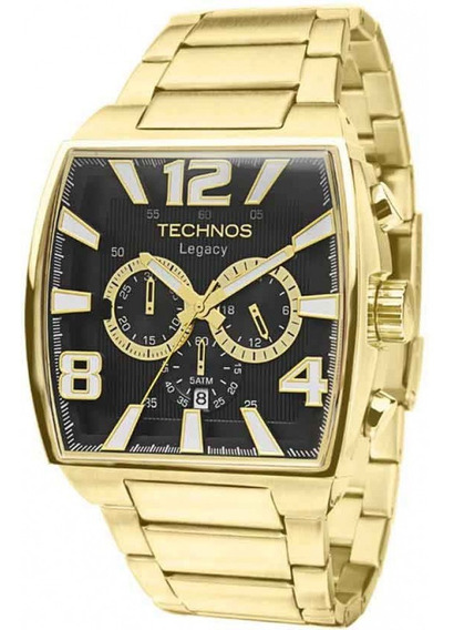 Relógio Technos Big Case Quadrado Dourado Js25ar/1d