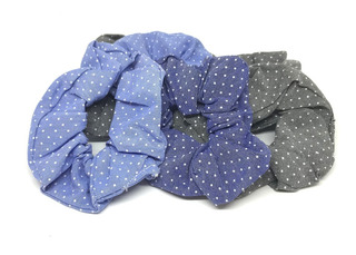 Colitas Scrunchie Tela X 6 - Tipo Jean