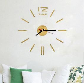 Relógio Parede Decoração Espelhado 3d Sala Tracinhos Sku180