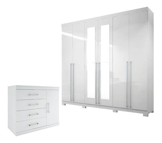 Guarda Roupa Casal Imaginare C/ Espelho E Pe + Comoda Branco