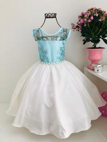 Vestido Frozzen Princesa Infantil Luxo Aniversário Cod. 2018