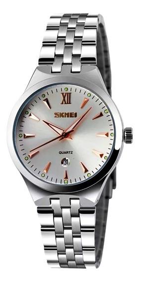 Relógio Feminino Prata Aço Inox Rose Pequeno Fino Calendário