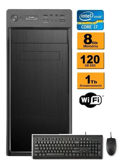 Computador Desktop Core I7 8gb Ram Ddr3 120 Ssd 1tb Hd Wifi