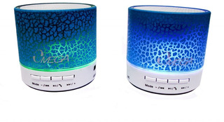 Parlante Bt-214 Azul Bluetooth Iluminado Omega