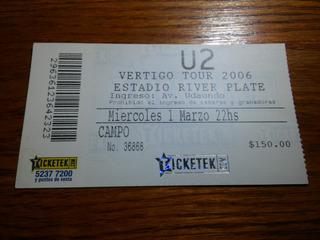 Entrada Recital U2 En Argentina - Marzo 2006