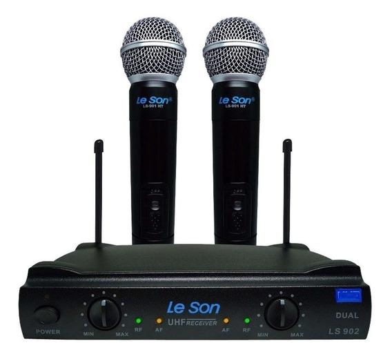 Microfone Duplo Sem Fio Uhf Leson Ls902 Ht + Maleta Brinde