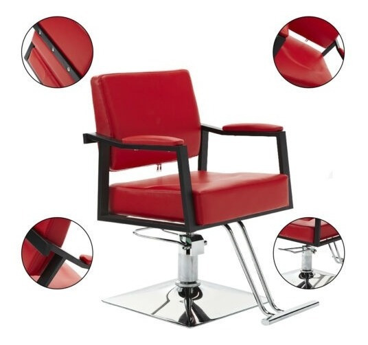 Silla De Barberia Sillon Barbero Hidraulico Sofa Peluqueria Estetica Spa Tattoo Moderna Roja 2