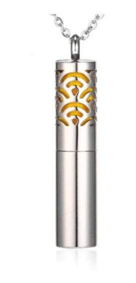 Colar Pingente Difusor Em Aço Tubo/cilíndrico C/reservatório